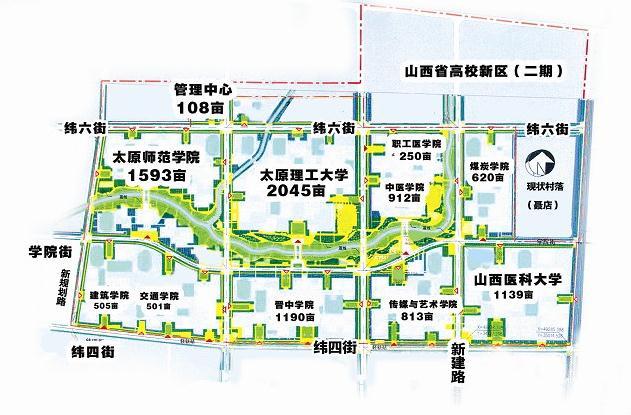 等高校新校区规划已形成稳定的城市结构和校区规模,有一定的高校